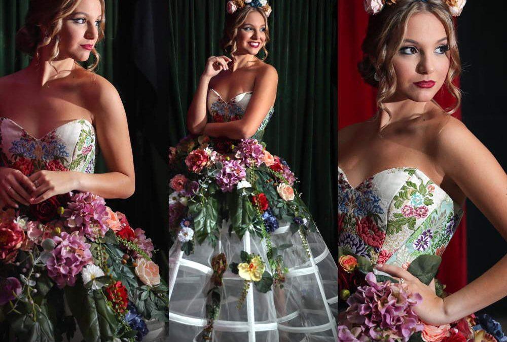 Vestido floral para la gala benéfica del cáncer de la firma Can can Empac